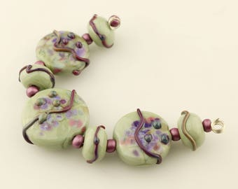 Lampwork Bead Set, Glass Lentil, Green, Purple, Pink