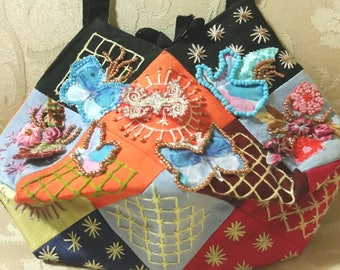 handmade bag, upcycled couture, handmade purse, butterfly bag, patchwork bag, beaded purse, beaded evening bag,