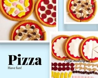 Pretend  Felt food Play food  Pepperoni Pizza ,Sausage and Mushroom Pizza, Pineapple and Ham Pizza set