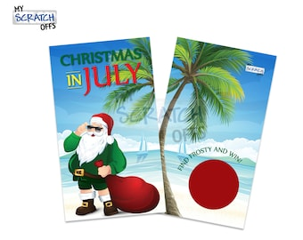Christmas in July Scratch Off Game Cards - Happy Holiday Scratch-Off Cards