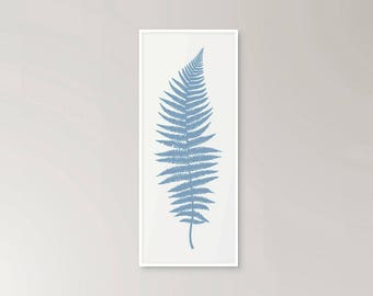 Fern illustration graphic modern botanical drawing print in pale blue
