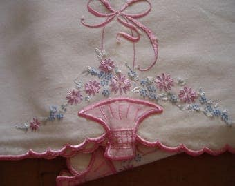 Vintage White Pillow Case Set with Pink Baskets and Pink and Blue Flowers