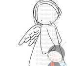 PI 074 Digital stamp, instant download, Digi Stamp, Pure Innocence, Crafting, Angel, Christmas