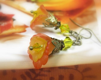Primrose Yellow and Flame, Flower Earrings, Pantone Spring Color, Swarovski Crystal Jewelry, Antique Brass Earrings, Mother's Day Gifts