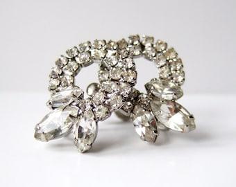 Weiss Earrings Vintage Rhinestone Earrings Weiss Jewelry Screwback Sparkly Earrings 1950s Wedding Jewellery Clip On Earrings