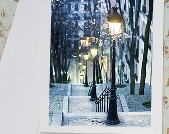 Paris Photo Notecard - Winter Evening, Street Lamps in Montmartre,  Stationery, Blank Notecard