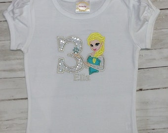 3rd  BIRTHDAY ELSA Personalized Name & Age Sparkle  Shirt Or Onesie Tank Top 1st 2nd 3rd 4th 5th 6th 7th 8th Birthday