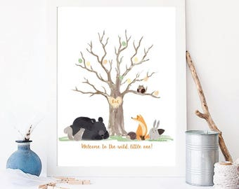 Welcome to the Wild, Little One - Forest Animal Fingerprint Guestbook, Thumbprint, baby shower, DIY,  customized gift, keepsake, Nursery art