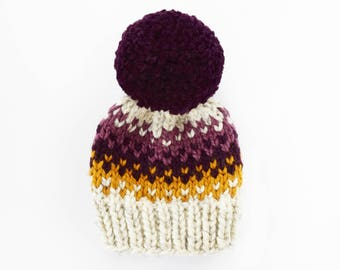 Toddler Hats for Girls // Hats for Women // Hats for Kids // Knit Hat // Pom Pom Hat // Fair Isle Hat // Purple