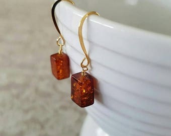 CLOSING SALE Amber, rectangular, wire wrapped, gold plated earrings.