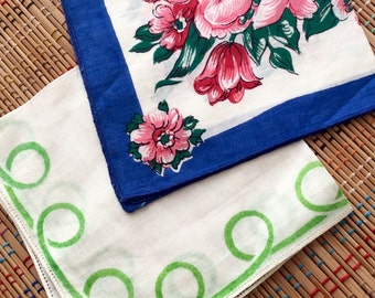 Vintage Hankie Duo:  Bright Blues, Pretty Pinks and Glorious Greens