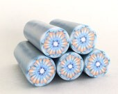 Polymer Clay Cane, Blue, Orange and White Flower, Raw, Unbaked Clay