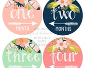 BABY GIRL Month Photo Prop / Tribal Baby Girl Monthly Stickers, Baby Month Stickers,  Floral, Feathers, Arrow Sticker, Tribal Nursery Decor