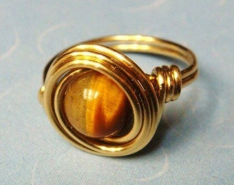Tigers Eye Ring   Gold Ring   Tigers Eye Jewelry  14K Gold Filled Ring