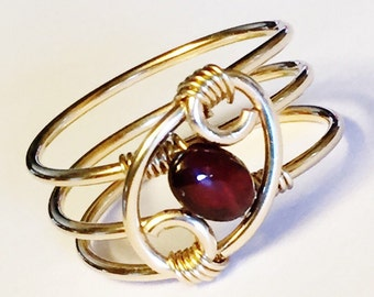 Garnet Ring  Garnet Jewelry  January Birthstone January Birthday   14K Gold Fill Rings for Women   Gold Ring   Rings
