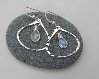 moonbeam. rainbow moonstone and sterling silver hoops. aura cleansing. radiate love. yoga jewelry. chakra jewelry. adirondack jewelry. love.
