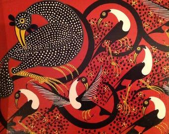 A.Hassani Original Tingatinga Painting Birds Guinea Fowl Tinga Tinga Tanzania