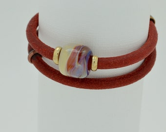 Bebe's Boro Beads Wrapped Leather Red Bracelet Magnetic Antique Brass Toggle Clasp Small#11