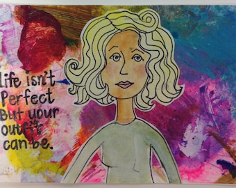 Fun whimsical girl print postcard