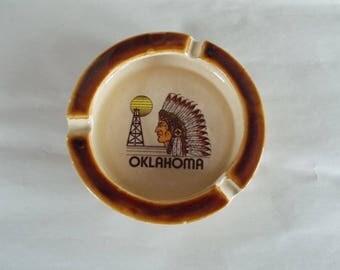 Vintage Small Ceramic Oklahoma Ashtray