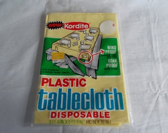 Vintage Nos Retro Kordite yellow Plastic Tablecloth