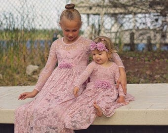Flower Girl Dress-Dusty Rose Lace Long Sleeve Dress- Baby Flower Girl Dress- Dresses- Ivory Girls Dress-Cream Dress- Rustic Wedding Dress