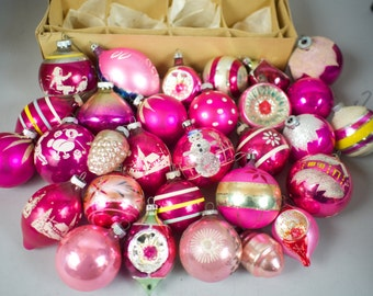 30 Pink Vintage Glass Christmas Tree Ornaments Collection