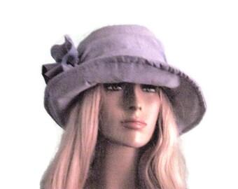 Cloche Hat Dusty Blue Church Hat Tea Hat Fall Winter Hat
