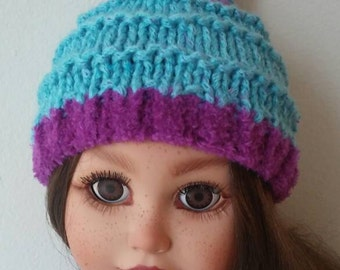 American Girl Knit Hat Doll Hat for 18 inch dolls Purple and Teal Winter Hat Pom Pom Girl Gift Fits American Girl Doll Hat