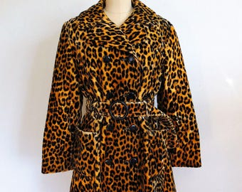 60s MOD Faux Leopard Fur coat size medium