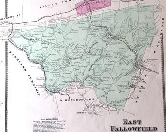 Original 1873 Chester County Pennsylvania Atlas map of East Fallowfield Township
