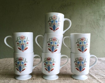 Vintage Pedestal Coffee Mugs, Berggren Trayner Rosemaling Flower Pattern, Set of Seven