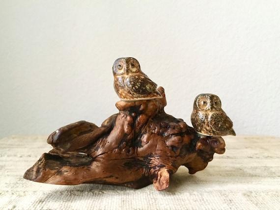 Vintage Owl Pair on Driftwood
