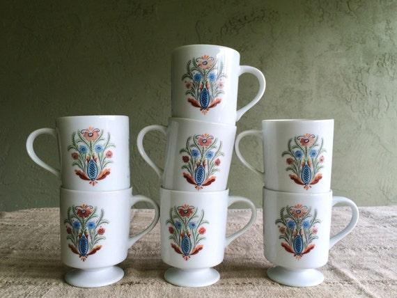 Vintage Pedestal Coffee Mugs, Berggren Trayner Rosemaling Flower Pattern, Set of Seven