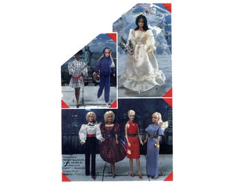 1980s Barbie Wardrobe Pattern Fashion Doll Wedding Gown Pants Halter Dress Blouse Hoodie Evening Simplicity 6097 Vintage Sewing Pattern