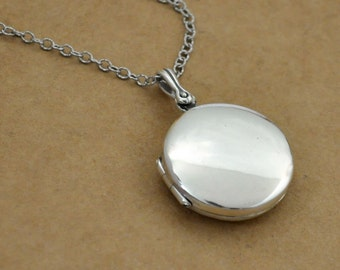 sterling silver round locket necklace. simple everyday wear. photo locket. gift for her. 925 sterling silver round locket necklace.