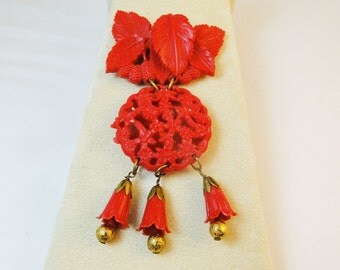 Huge Celluloid Moving Red Brooch RARE