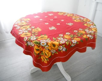 mid century cloth vintage tablecloth burgundy tablecloth floral decor bold floral mustard flowers cottage decor 48 x 56 inch thick cotton