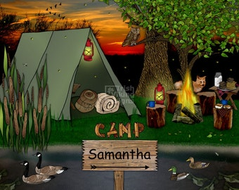 camping, personalized art print, rustic wilderness, woodland art, scouts camp, northwoods, wedding gift, housewarming, the great outdoors