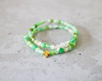 Irya bracelet - 4mm faceted natural agate light green with gold or matte silver pewter leaf