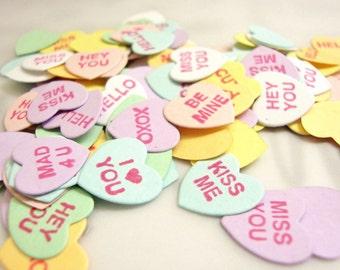 Valentine's Day Confetti, Conversation Heart Confetti, Table Confetti, Conversation Hearts, Valentine Confetti, Heart Confetti, Tabel Decor
