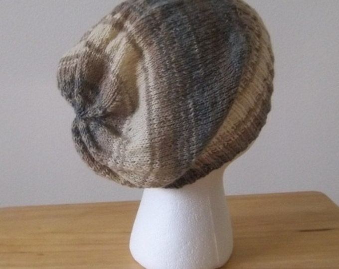 Hat - Hand Knitted Slouchy Hat in Selfstriping Colors Beige, Cream and Grey - Size Medium/Large - Unisex