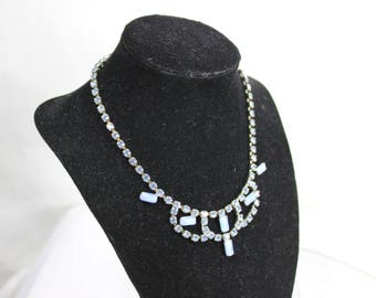 Vintage Blue Rhinestone Necklace c. 1950's