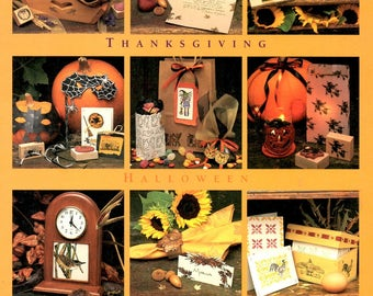 Thanksgiving Autumn Projects Rubber Stamp Cards Halloween Pumpkin Harvest Tray Memory Book Candy Bag Stationery Gift Set Craft Idea Leaflet