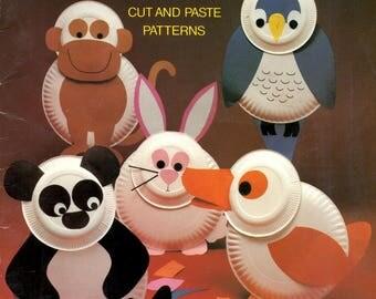 Paper Plate Animals Cut Paste Panda Bear Owl Duck Monkey Bunny Rabbit Camel Chicken Cat Elephant Frog Dog Lion Craft Pattern Leaflet 8612