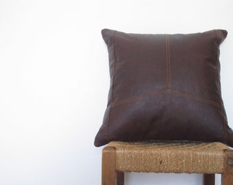 Dark Chestnut Brown Leather Cushion ... Luxe Thick Rustic Leather Sofa Pillow