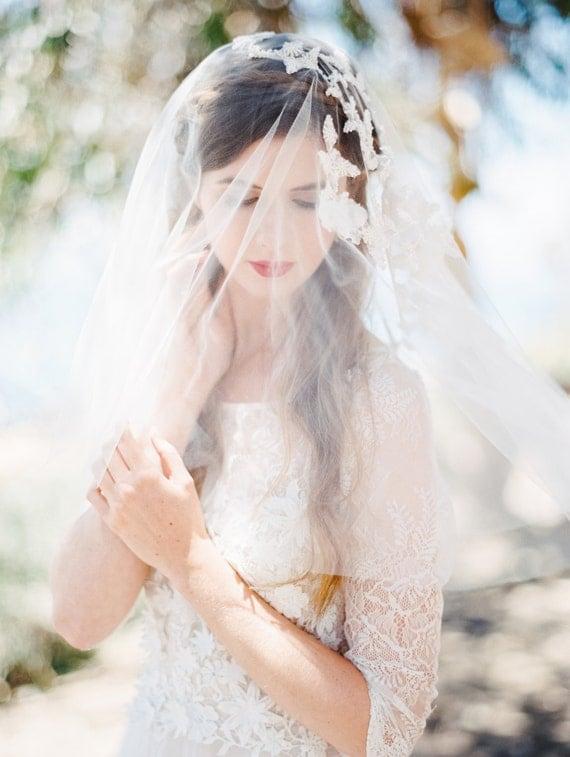 Wedding Veil, Short Beaded Applique Floral Bridal Veil Elbow Length, Blusher Veil - Style 406