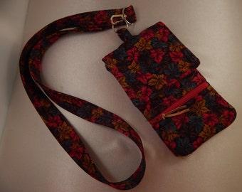 Red Teal Brown Leaf Print Cell Phone Lanyard Wallet Wristlet Organizer Tote