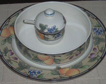 Mikasa Garden Harvest 8 3/8 in Vegetable Bowl 12 3/4 Chop Plate Jam Jelly Jar