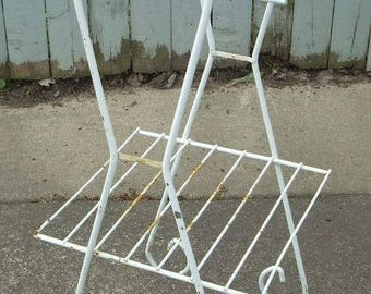 Mid Century White Wire Plant Shelf Planter Stand Table